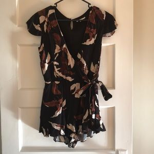 Romper with rust and cream floral print